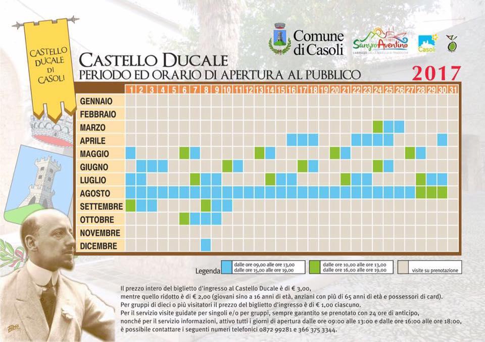 Calendario Anno 2017.Calendario Apertura Al Pubblico Del Castello Ducale Di
